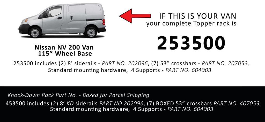 Van Rack NV 200 Topper Manufacturing 258500