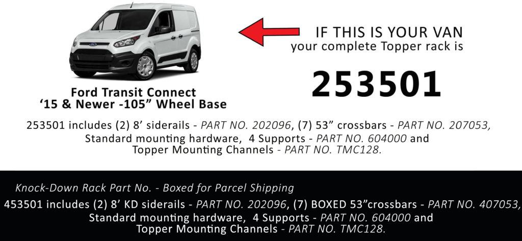 Van Rack Transit Connect Topper Manufacturing 253501