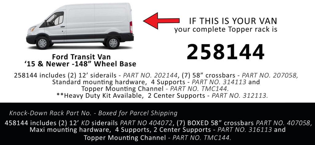 Van Rack Transit Topper Manufacturing 258144