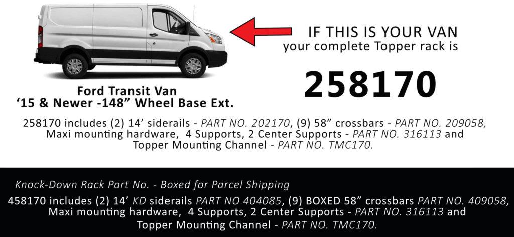 Van Rack Transit Topper Manufacturing 258170