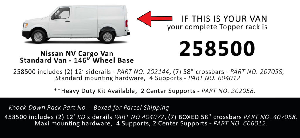 Van Rack Nissan NV Cargo Topper Manufacturing 258500