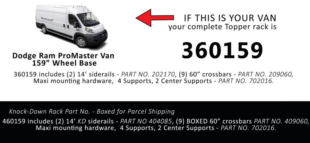 Van Rack ProMaster Topper Manufacturing 360159