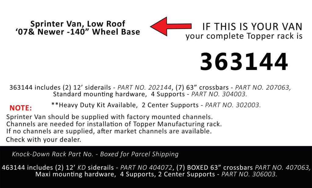 Van Rack Sprinter Van, Low Roof Topper Manufacturing 363144