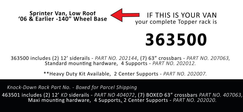 Van Rack Sprinter Van, Low Roof Topper Manufacturing 363500