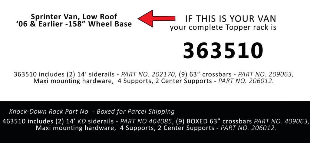 Van Rack Sprinter Van, Low Roof Topper Manufacturing 363510