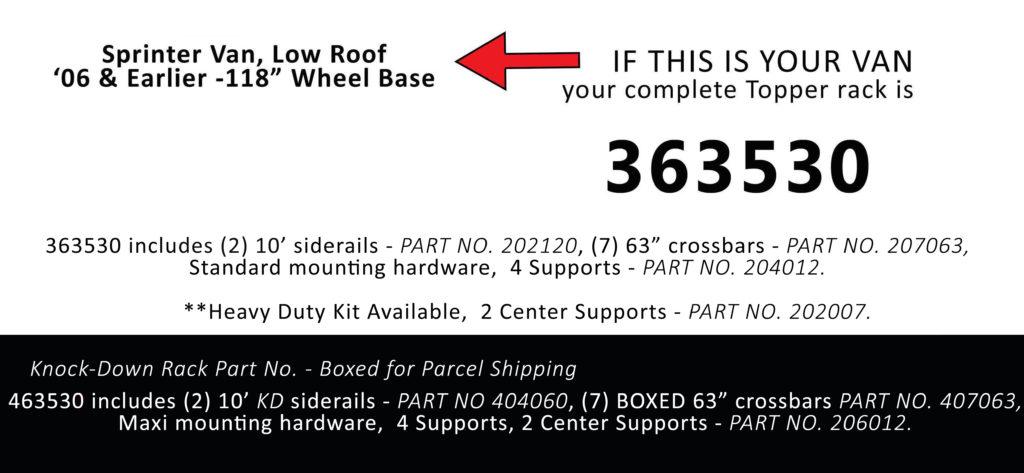 Van Rack Sprinter Van, Low Roof Topper Manufacturing 363530