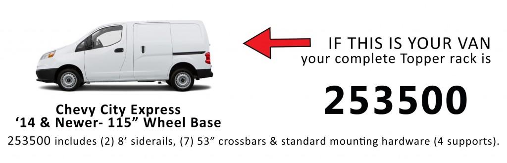 "Van Rack Chevy City Express '14 & New - 115"" Wheel Base Topper Rack Manufacturing"