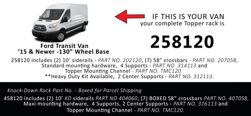 Van Rack Transit Topper Manufacturing 258120