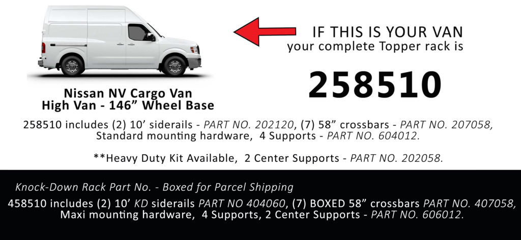Van Rack Nissan NV Cargo Topper Manufacturing 258510