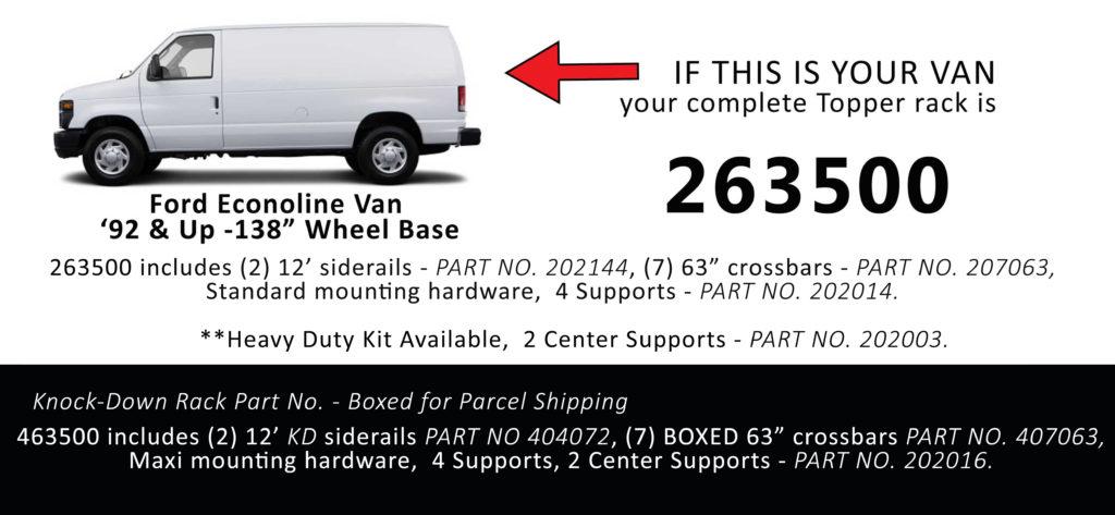 Van Rack Ford Econoline Topper Manufacturing 263500