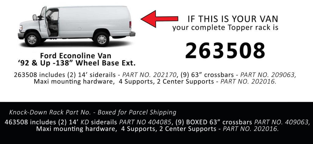Van Rack Ford Econoline Topper Manufacturing 263508