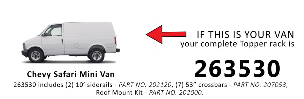 Van Rack Chevy Safari Mini Van Topper Manufacturing 263530