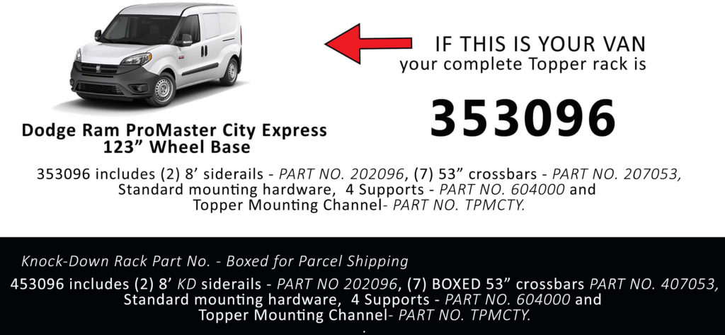 Van Rack ProMaster City Express Topper Manufacturing 353096