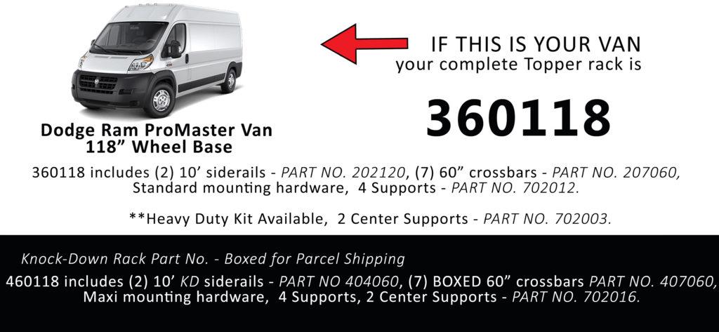 Van Rack ProMaster Topper Manufacturing 360118