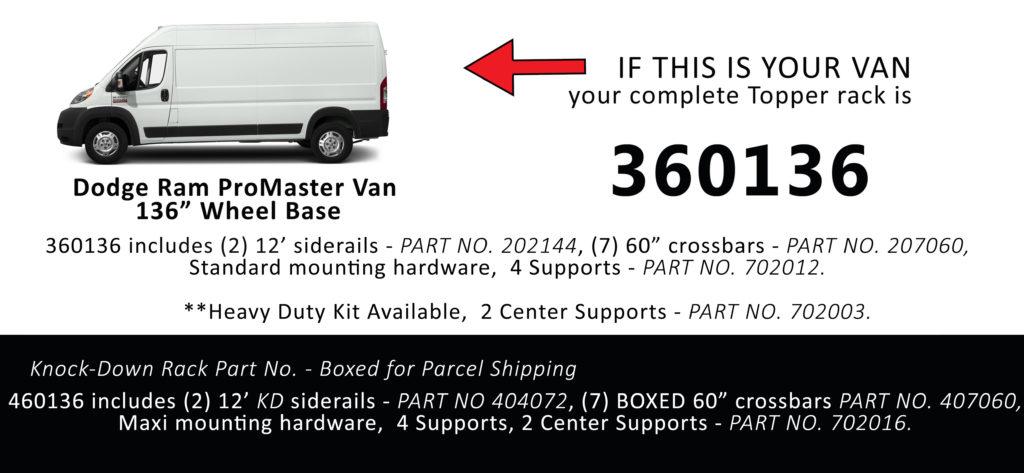 Van Rack ProMaster Topper Manufacturing 360136