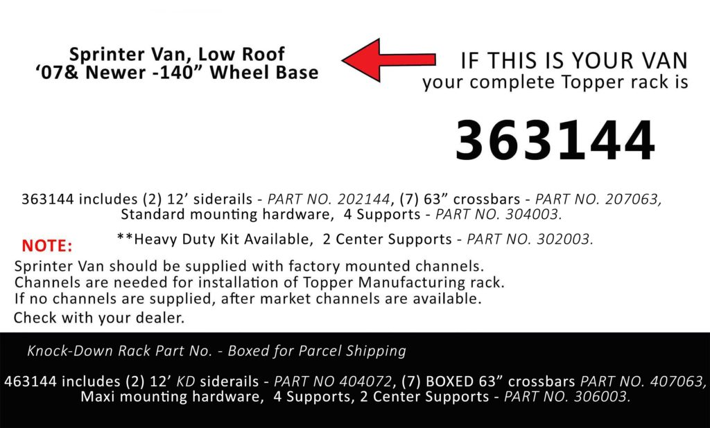 Van Rack Sprinter Van, Low Roof Topper Manufacturing 363144